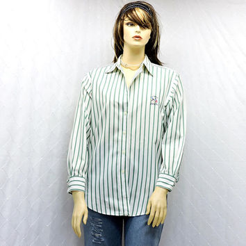 Ralph Lauren oxford shirt / size M / L / 10 / 14 / vintage 80s white / green striped button down cotton shirt / 1980s Lauren boyfriend shirt