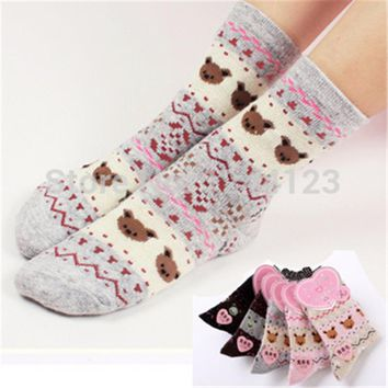5 pairs Wool funny socks women thermal winter rabbit female thickening towel 100% cotton meias gift sock