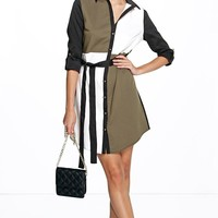 Caroline Colour Block Shirt Dress