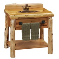 Cedar Freestanding Open Vanity with Shelf and Towel Bar