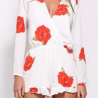 Red Floral Print Long Sleeve Ruffled Romper