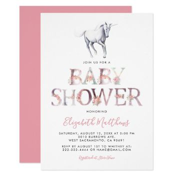Magical Unicorn Baby Shower | Pink Floral Girl Card