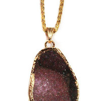 Gold Plated Peachblow Agate Druzy Pendant