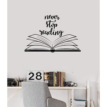 Vinyl Wall Decal Open Book Quote Reading Room Library Decor Stickers Mural Unique Gift (ig5184)