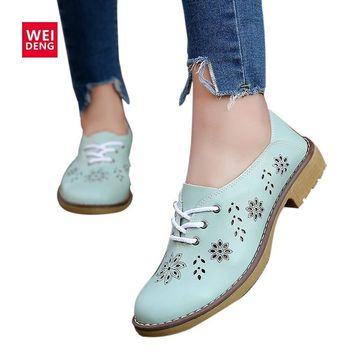 WeiDeng 2017 Genuine Leather Ankle Boots Motorcycle Brogue Lace up Classic Women Summ