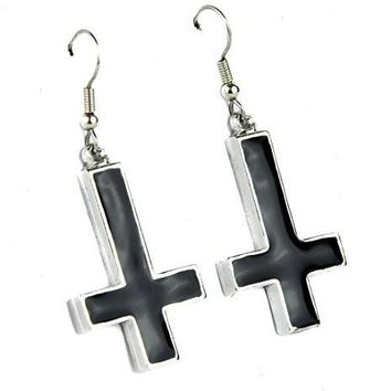 Inverted Cross Earrings with Black Inlay Occult Metal Jewelry Cosplay
