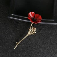 Ecesha Brand Fashion Red Poppy Flower Brooch Vintage Collar Pins For Men Jewelry Brooches Pins Boutonniere Men Suit Accessories