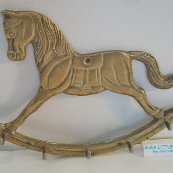 Brass Rocking Horse Key Holder Wall Mount Hanger Carousel Vintage