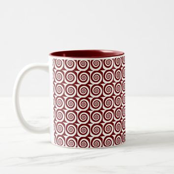 Cranberry Red and White Large Spiral Pattern Two-Tone Coffee Mug