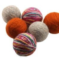 Felted Wool Dryer Balls - Orange Grey and Multi-colored Eco-Friendly Laundry Balls - Chemical Free Fabric Softener - cat toy - all natural