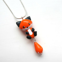 Cute Little Fox Necklace Polymer Clay