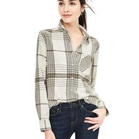 Banana Republic Womens Soft Wash Bold Plaid Boyfriend Shirt