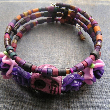 Day of The Dead Bracelet 3 loop memory wire wrap around Vintage dyed wood purple flowers roses and skull