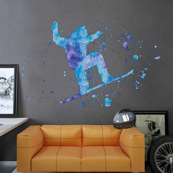 cik1848 Full Color Wall decal Watercolor snowboarding snowboarder snow sport spray paint room Bedroom