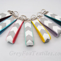 Gray chevron Key fob with a burgundy wine accent, key chain, lanyard, wristlet