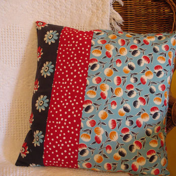 Blue Floral Pillow Cover Denyse Schmidt Daisy by KaysGeneralStore