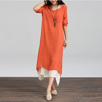 Plus Size 2018 Women Robe Kaftan Dresses Vintage Casual Cotton Linen Dress Loose O Neck Boho Long Maxi Dresses Vestidos