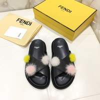 FENDI Leather Sandal With Pom Pom