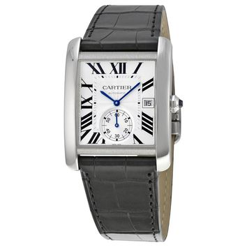 Cartier Tank MC Automatic Silver Dial Black Leather Men\'s Watch