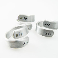 Big Sis, Lil Sis, Mid Sis, Set of Three, Wrap Ring, Twist Ring, hand stamped, sister gift