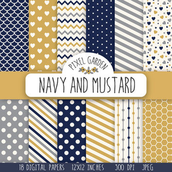 Navy and Mustard Digital Paper Pack. Hearts Scrapbooking Paper, Polka Dot Digital Clip Art, Chevron Printable Paper. Honeycomb Pattern.