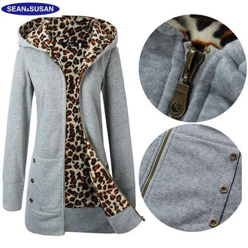 Sean&Susan Popular Leopard Lined Slim Long Fleece Basic Jacket Women Faux Fur Coats Winter Velvet Hooded Veste femme
