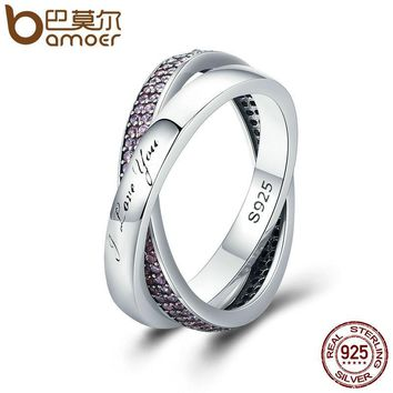 BAMOER Real 925 Sterling Silver Sweet Promise Ring, Pink CZ Female Wrap Finger Ring for Women Engagement Jewelry PA7650