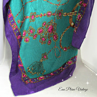 Turquoise Paisley Bold Lavender Purple Jeweled Design Vintage Polyester Head Scarf Korean