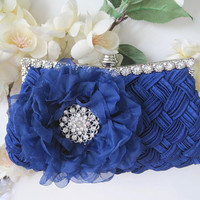Royal Blue Cobalt Blue Satin Rhinestone Framed Wedding Bridesmaid Clutch  with Royal Cobalt Blue Chiffon Flower and Rhinestone Accent