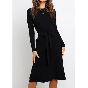Midi Dress Women's Lace Up Solid Round Neck Long Sleeve