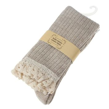Tonsee Lace Trim Cotton Knit Footed Leg Boot Knee High Stocking (Beige)