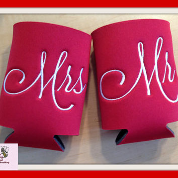 Mrs & Mr Personalized Can Coozie Gift Set  16 different color's available