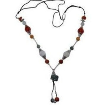 Jade Necklace Multi Color Jade Silver Plate Accents Adjustable