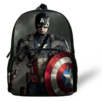 Cool 12-inch Mochila Captain America Backpack The Avengers School Bag For Boys Aged 1-6 Cartoon Backpack Kids Daily Backpack.