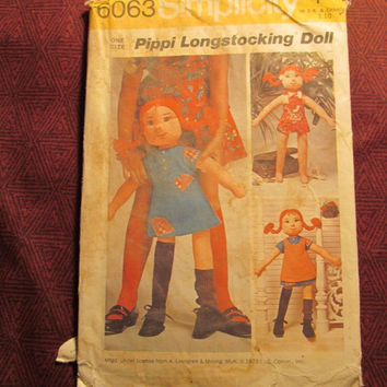 Sale Uncut 1970's Simplicity Sewing Pattern, 6063! Pippi Longstocking Doll/Stuffed Dolls/Doll Clothes/Girl's Doll Toy/Arts & Crafts/Rag Doll