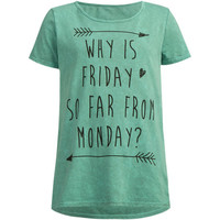 Full Tilt Friday To Monday Girls Tee Green  In Sizes
