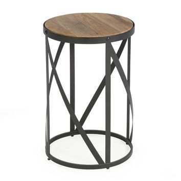 Modern Industrial Drum Style Steel Side Table with Wood Top