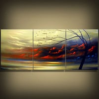 abstract silhouette tree painting landscape painting by mattsart