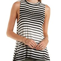 Black Combo Striped Tunic Muscle Tee by Charlotte Russe