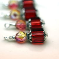 Bead Dangle Charm Drop Set - 4 Piece Red Czech Cube Square Vintage Style Bead Dangle Set