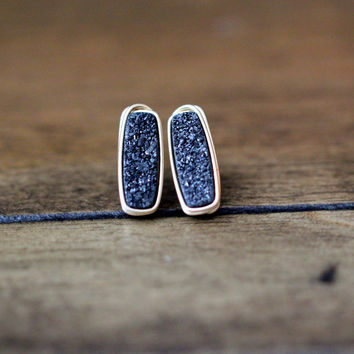Druzy Bar Studs - Eclipse