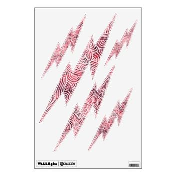 Lightnings wall decals - Red and white scrolls