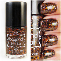 Hallo-Scream - Orange and White Glitter in a Black Nail Polish Base