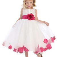 Special Order Flower Girl Dress--White With Fuschia Petals