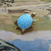 Blue Turtle Pin, Vintage, Pale Blue Enamel, Terrapin, Tortoise Brooch, Adorable!