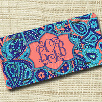 Custom Personalized License Plate, Monogrammed License Plate, Paisley LP Inspired Navy, Turquoise, & Coral or Any Color(s)