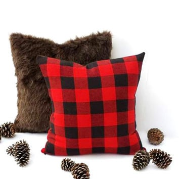 Brown Faux Fur and Plaid Pillow, Black & Red Plaid Pillow, Black and Red Buffalo Plaid Cotton, Winter Decor, Fall Decor **FREE SHIPPING**