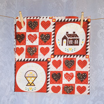 Vintage Cotton Print Fabric Quilting or Craft Welcome Home Warm Fall Colours with House and Lovehearts