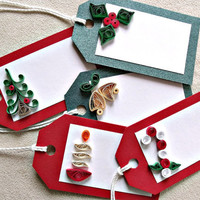 handmade paper quilled Christmas gift tags – set of five tags