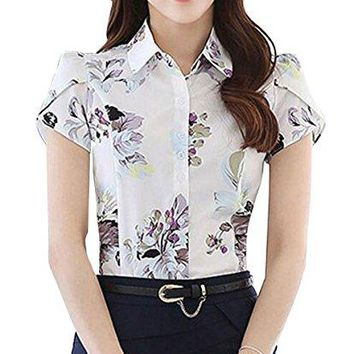 Double Plus Open DPO Womens Chiffon Collared Floral Printed Button Down Shirt Short Sleeve Blouse